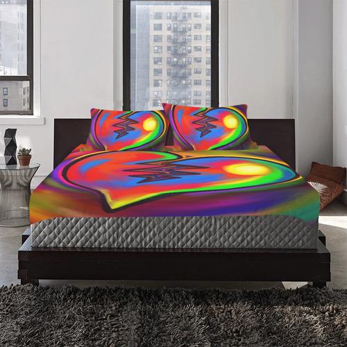 Broken Heart Vibrant Love Painting 3-Piece Bedding Set