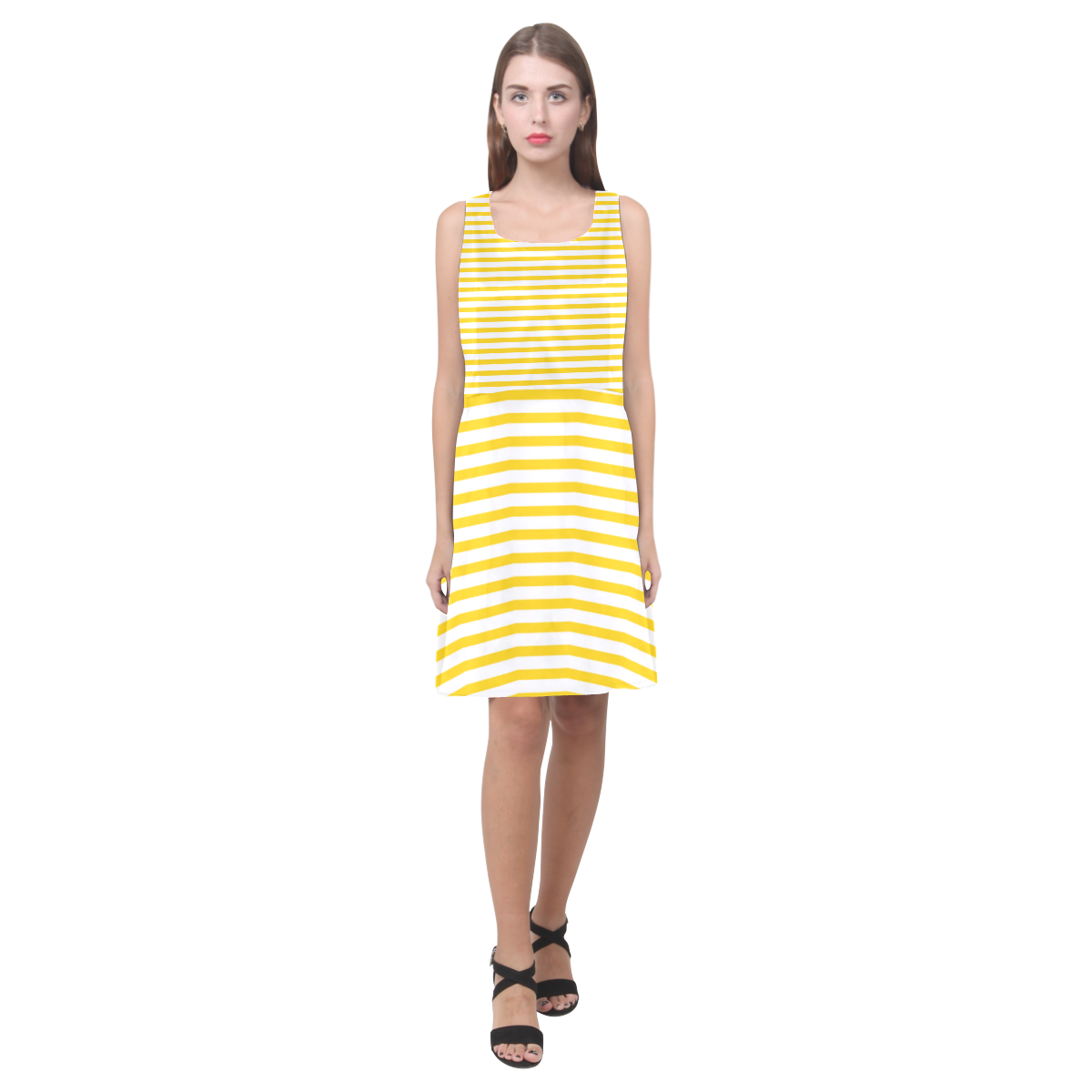 Horizontal Yellow Candy Stripes Hebe Casual Sundress (Model D11)