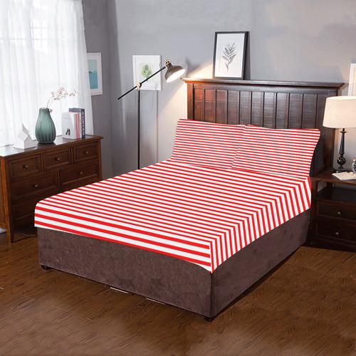 Horizontal Red Candy Stripes 3-Piece Bedding Set