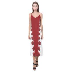 Canada Souvenir Dresses - Long V-Neck Open Fork Long Dress(Model D18)