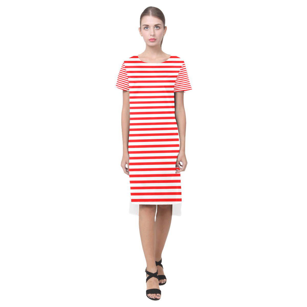 Horizontal Red Candy Stripes Short Sleeves Casual Dress(Model D14)