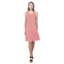 Horizontal Red Candy Stripes Sleeveless Splicing Shift Dress(Model D17)