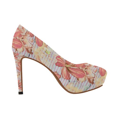 Watercolor Flowers Stripes Wallpaper 02 Women's High Heels (Model 044)