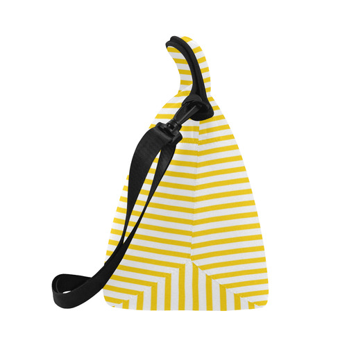 Horizontal Yellow Candy Stripes Neoprene Lunch Bag/Large (Model 1669)