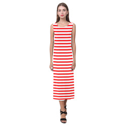 Horizontal Red Candy Stripes Phaedra Sleeveless Open Fork Long Dress (Model D08)