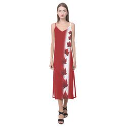 Canada Flag Dresses - Long V-Neck Open Fork Long Dress(Model D18)