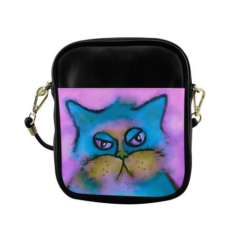 Bored Fluffy Cat Watercolor Portrait Sling Bag (Model 1627)