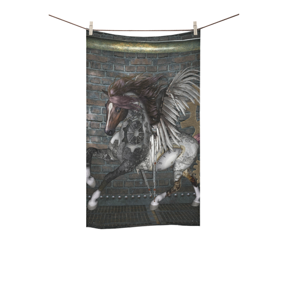 """Steampunk, awesome steampunk horse with wings Custom Towel 16""""x28"""""""