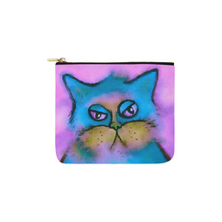 Bored Fluffy Cat Watercolor Portrait Carry-All Pouch 6''x5''