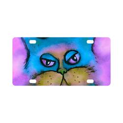 Bored Fluffy Cat Watercolor Portrait Classic License Plate