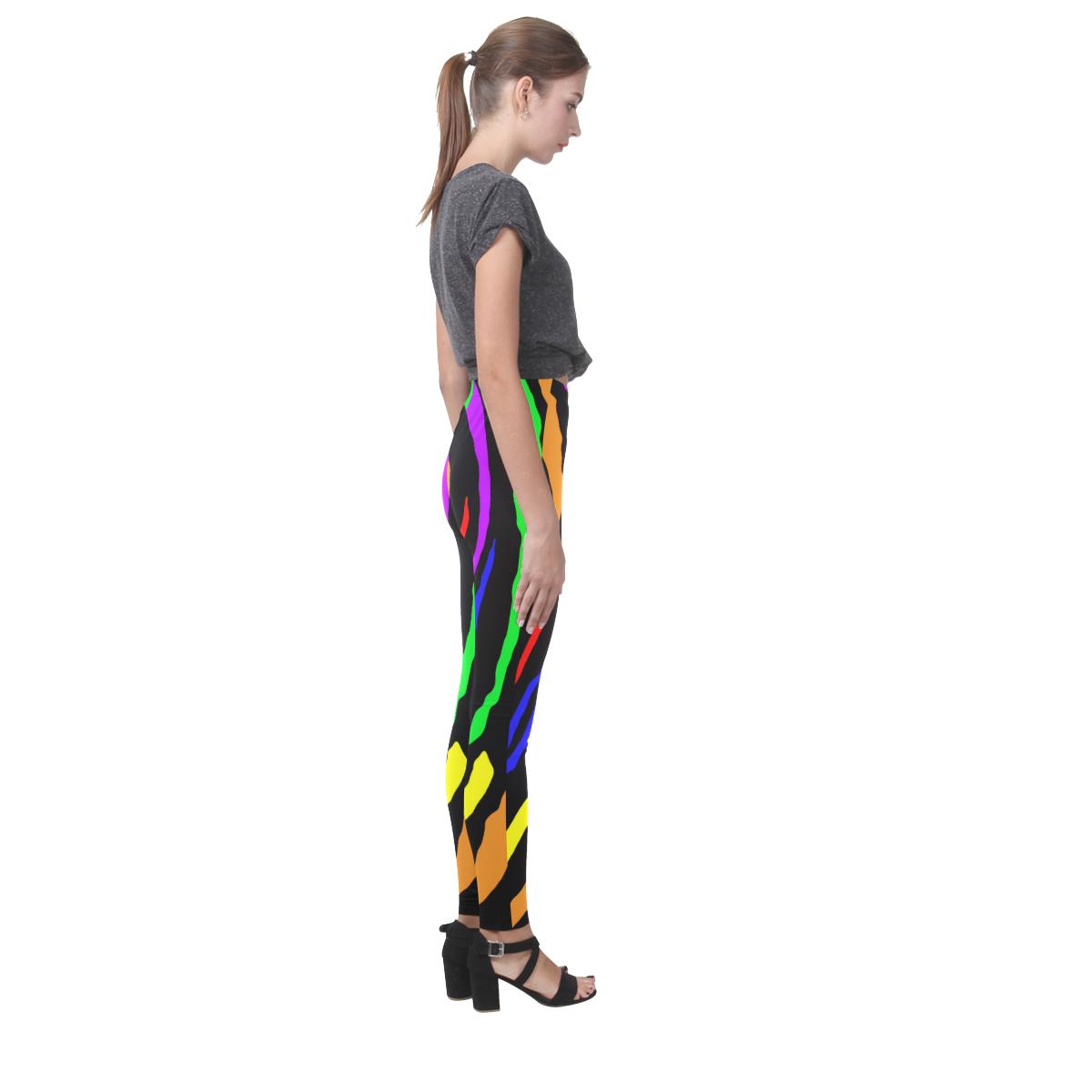 Rainbow Tiger Stripes Cassandra Women's Leggings (Model L01)