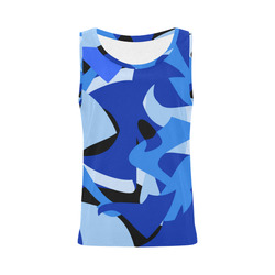 A201 Abstract Blue Camouflage All Over Print Tank Top for Women (Model T43)