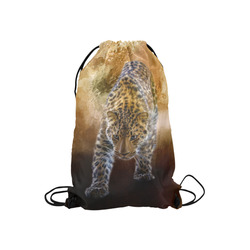 "A fantastic painted russian amur leopard Small Drawstring Bag Model 1604 (Twin Sides) 11""(W) * 17.7""(H)"