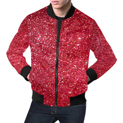 Red Glitter by Artdream All Over Print Bomber Jacket for Men (Model H19)