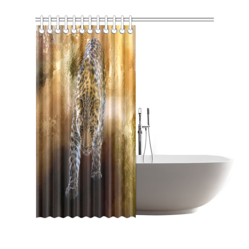 "A fantastic painted russian amur leopard Shower Curtain 72""x72"""