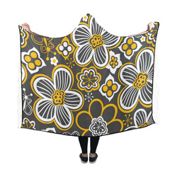 Retro Flowers - Gold and White on Black Bg Hooded Blanket 60''x50''