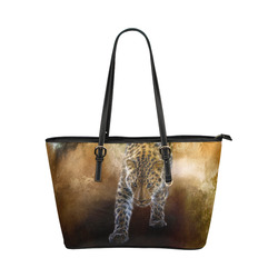 A fantastic painted russian amur leopard Leather Tote Bag/Large (Model 1651)