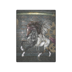 """Steampunk, awesome steampunk horse with wings Blanket 50""""x60"""""""