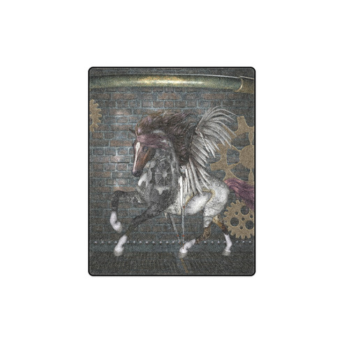 """Steampunk, awesome steampunk horse with wings Blanket 40""""x50"""""""