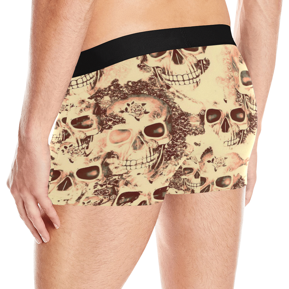 cloudy Skulls beige by JamColors Men's All Over Print Boxer Briefs (Model L10)