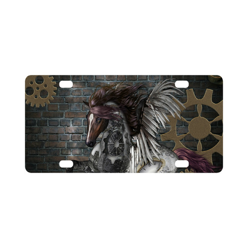 Steampunk, awesome steampunk horse with wings Classic License Plate