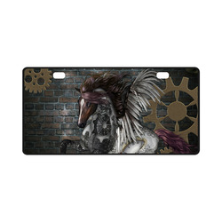 Steampunk, awesome steampunk horse with wings License Plate