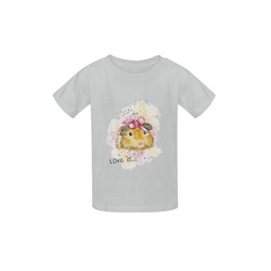Love is... a Guinea Pig Grey Kid's  Classic T-shirt (Model T22)