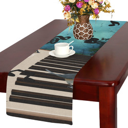 Music, birds on a piano Table Runner 14x72 inch