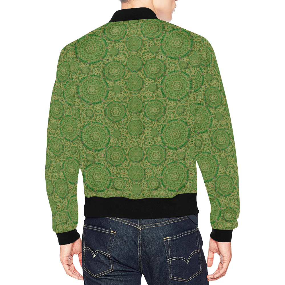 Stars in the wooden forest night in green All Over Print Bomber Jacket for Men (Model H19)