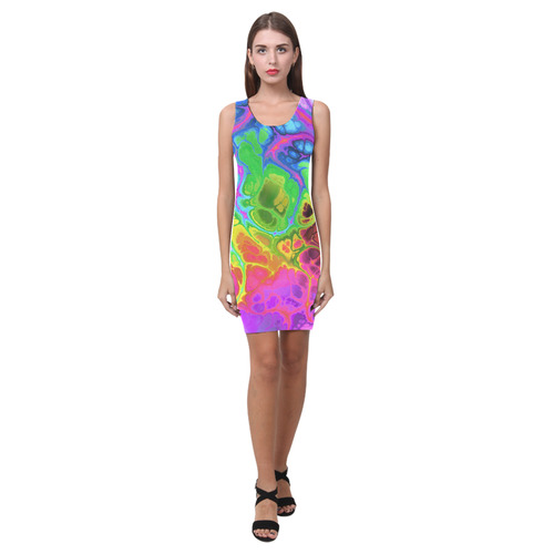 Rainbow Marble Fractal Medea Vest Dress (Model D06)