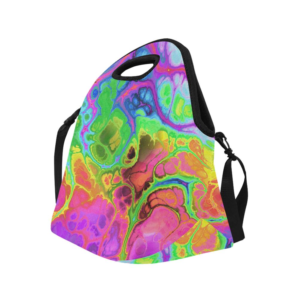 Rainbow Marble Fractal Neoprene Lunch Bag/Large (Model 1669)