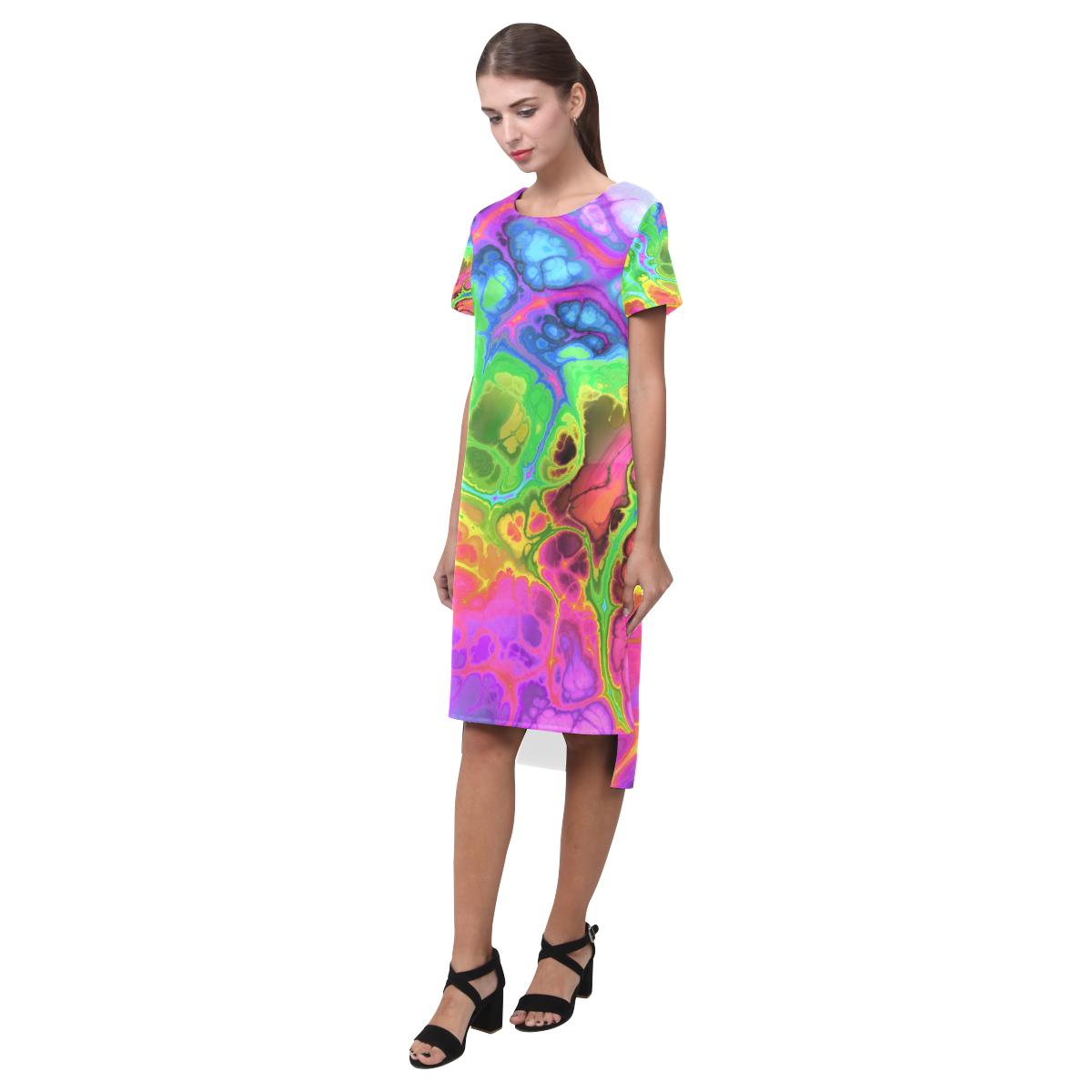 Rainbow Marble Fractal Short Sleeves Casual Dress(Model D14)
