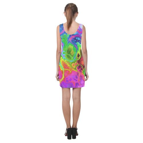 Rainbow Marble Fractal Helen Sleeveless Dress (Model D10)