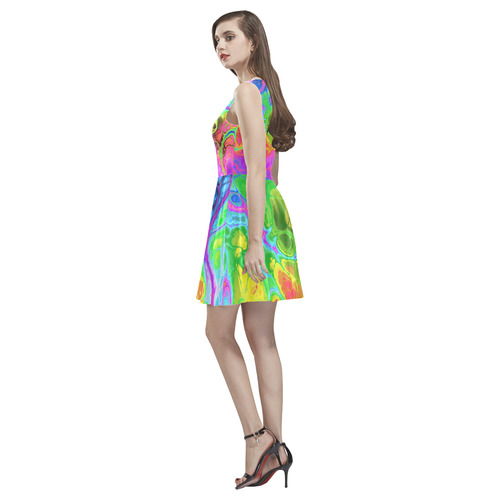 Rainbow Marble Fractal Thea Sleeveless Skater Dress(Model D19)