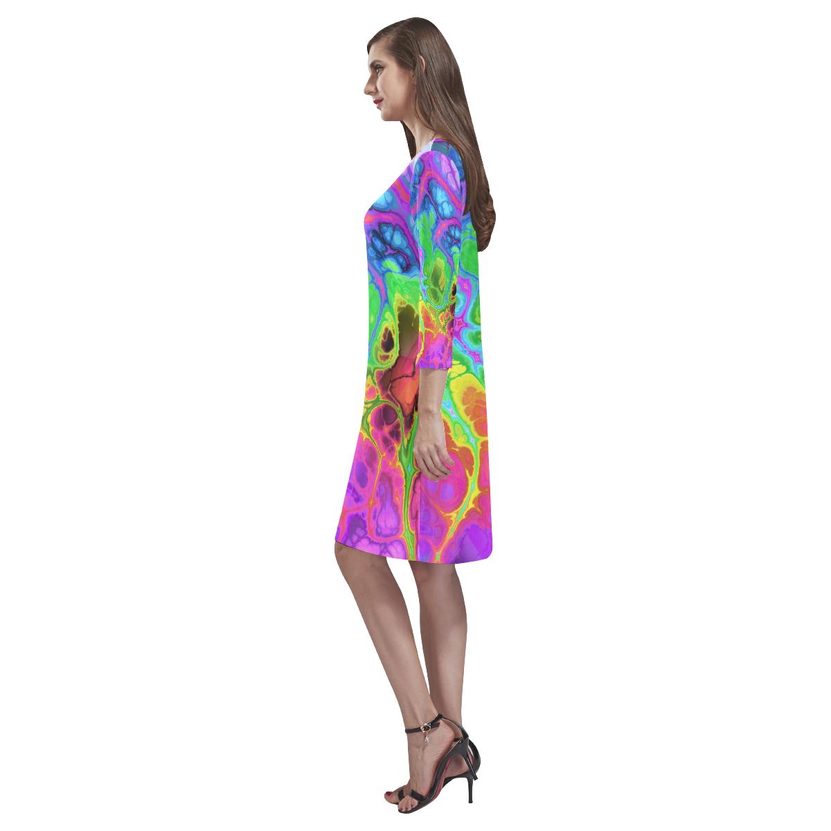 Rainbow Marble Fractal Rhea Loose Round Neck Dress(Model D22)