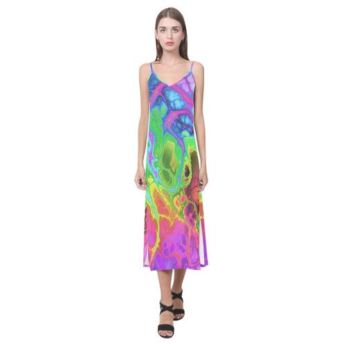 Rainbow Marble Fractal V-Neck Open Fork Long Dress(Model D18)