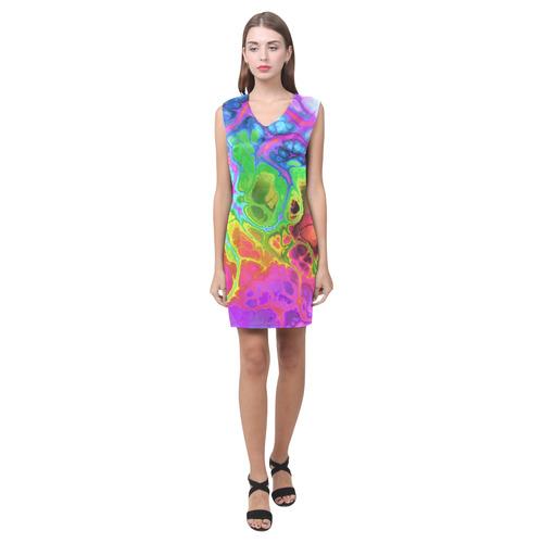 Rainbow Marble Fractal Phoebe Sleeveless V-Neck Dress (Model D09)
