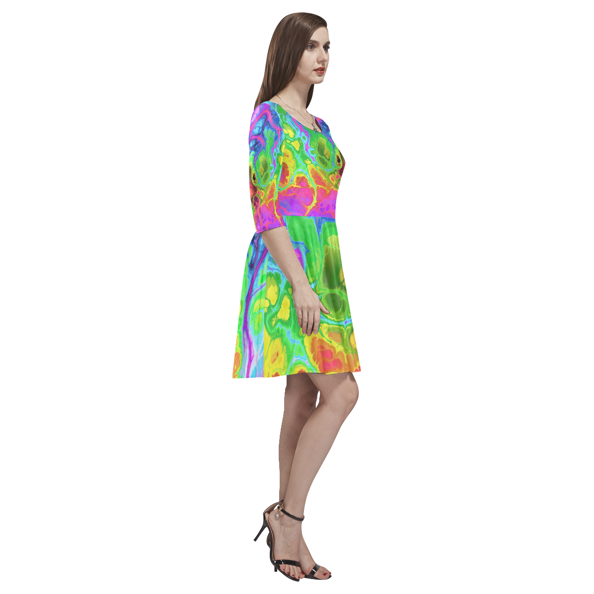 Rainbow Marble Fractal Tethys Half-Sleeve Skater Dress(Model D20)