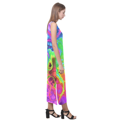 Rainbow Marble Fractal Phaedra Sleeveless Open Fork Long Dress (Model D08)