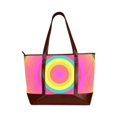 Pink Retro Radial Pattern Tote Handbag (Model 1642)