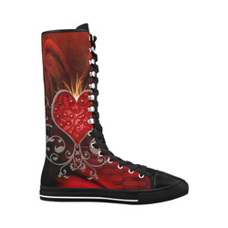 Wonderful heart with wings Canvas Long Boots For Women Model 7013H