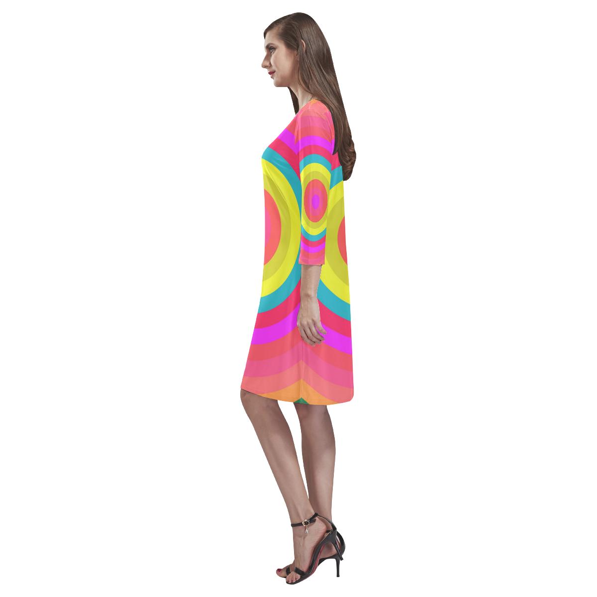 Pink Retro Radial Pattern Rhea Loose Round Neck Dress(Model D22)