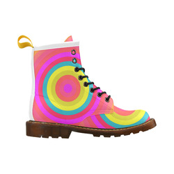 Pink Retro Radial Pattern High Grade PU Leather Martin Boots For Women Model 402H