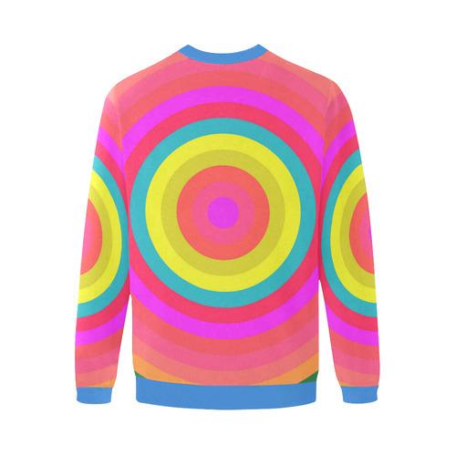 Pink Retro Radial Pattern Men's Oversized Fleece Crew Sweatshirt/Large Size(Model H18)
