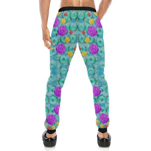 Season for roses and polka dots Men's All Over Print Sweatpants (Model L11)
