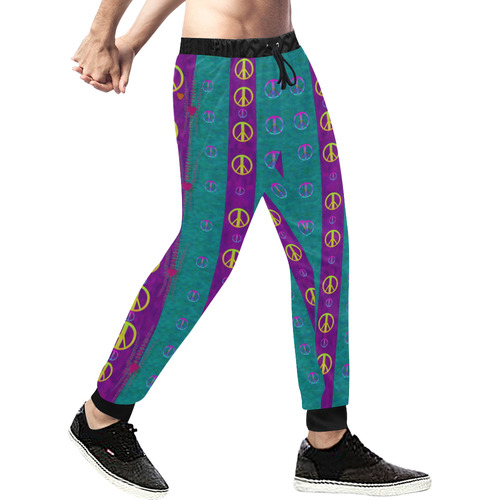 Peace be with us this wonderful year in true love Men's All Over Print Sweatpants (Model L11)