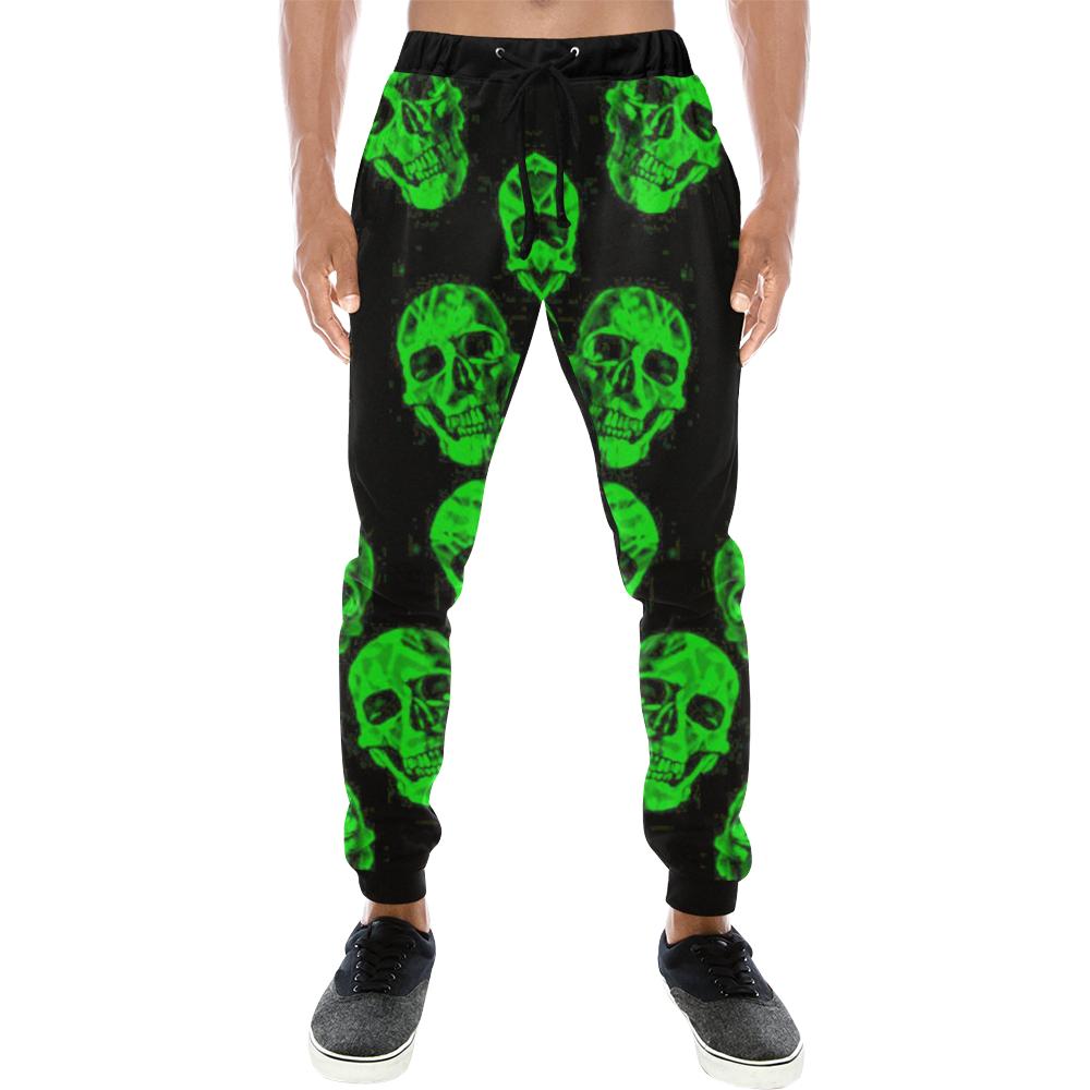Hot Skulls, green by JamColors Men's All Over Print Sweatpants (Model L11)