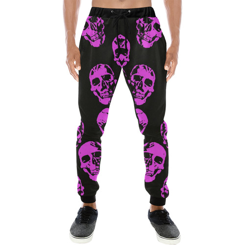 Hot Skulls, pink by JamColors Men's All Over Print Sweatpants (Model L11)