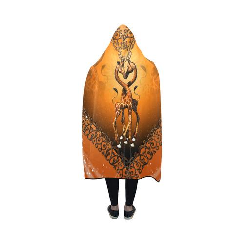 Giraffe in love Hooded Blanket 50''x40''