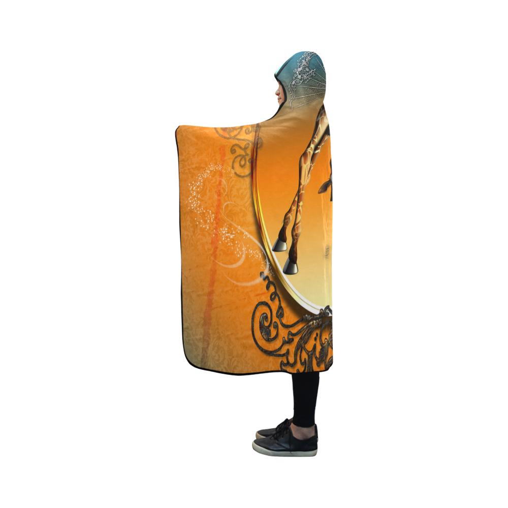 So cute, funny giraffe Hooded Blanket 50''x40''